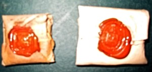 2 Packets with wax seals